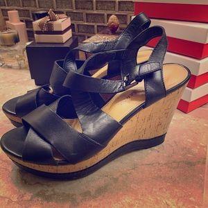 Black and cork platform wedge sandals